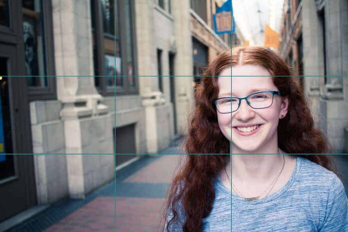 rule of thirds grid on portrait