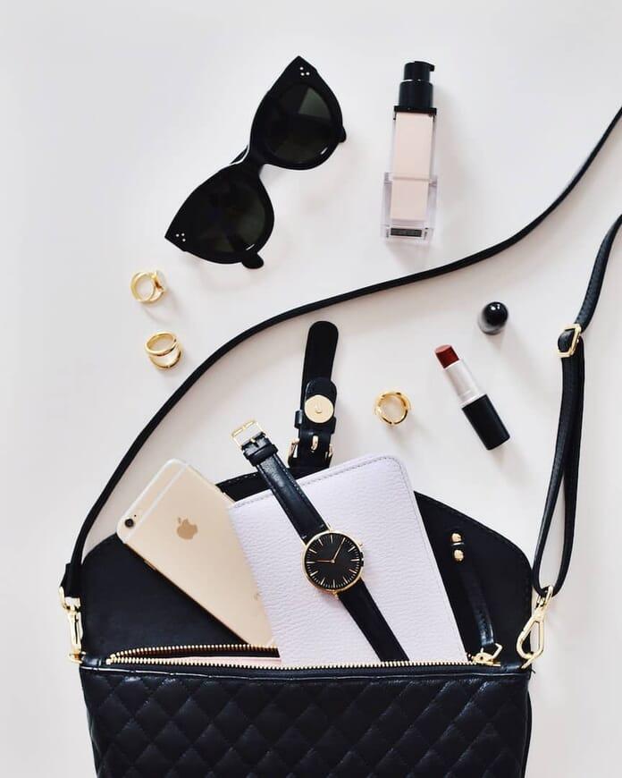 handbag flat lay