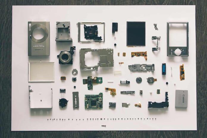 electronics flat lay