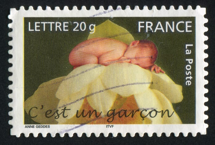 Stamp printed by France, shows boy, 2005