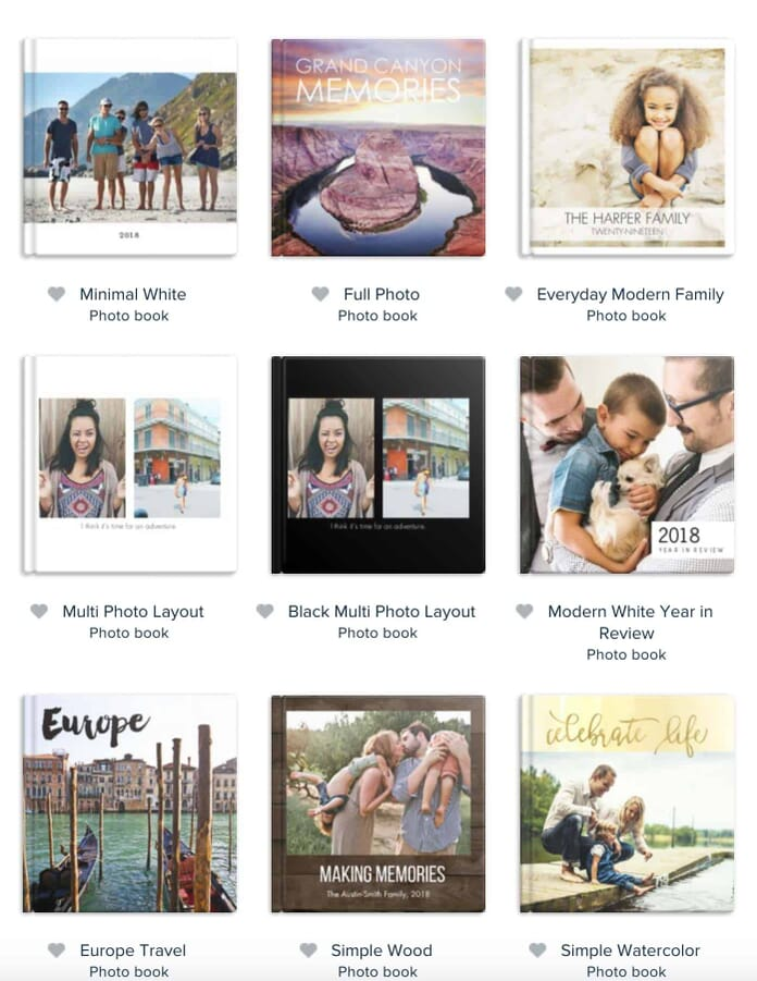 Mixbook photo book template selection