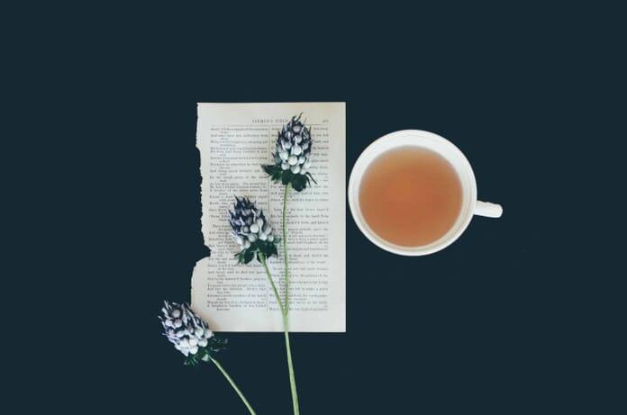 flower and mug flat lay