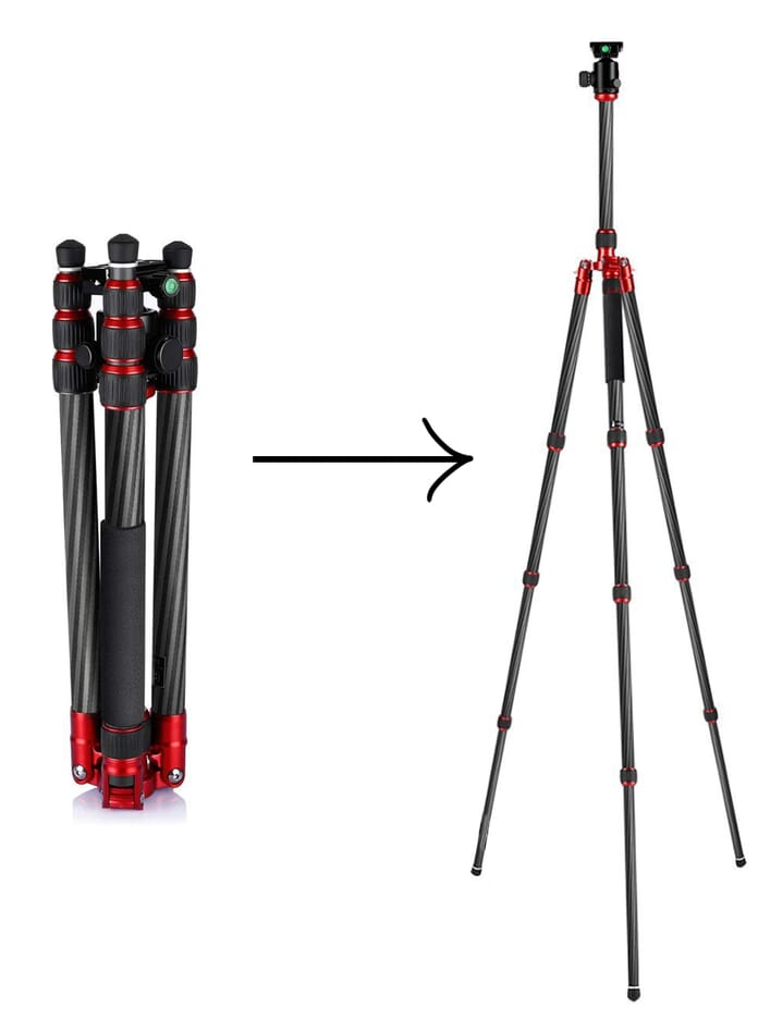 Transformation from compact to full size Neewer Tripod