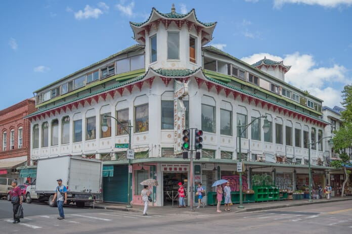 The Wo Fat building is a Chinatown landmark in Honolulu Hawaii