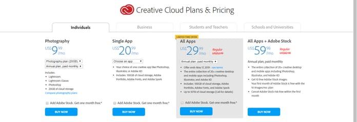 Creative Cloud Price Plans