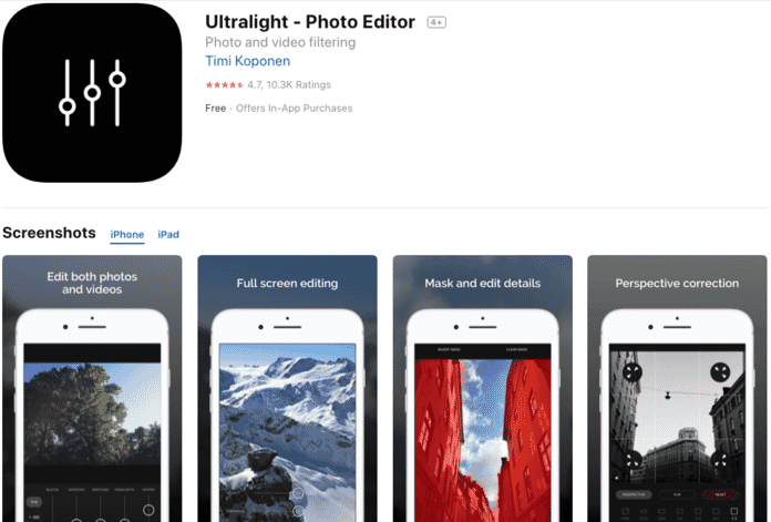 Ultralight Photo Editor