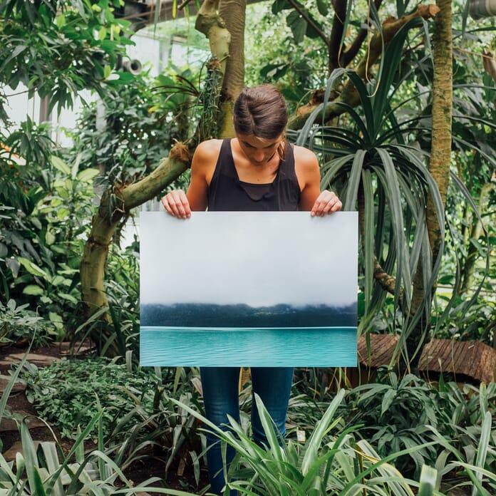 woman with metal print