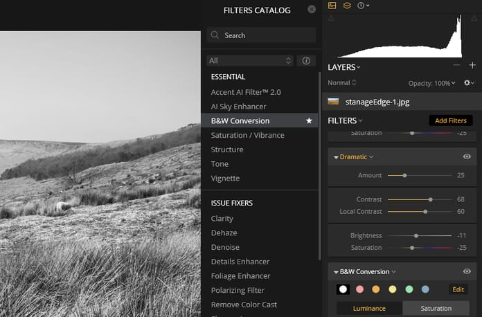 Luminar 3.1 Review - Filters categories