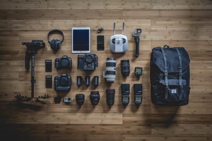photography gear setup on the floor