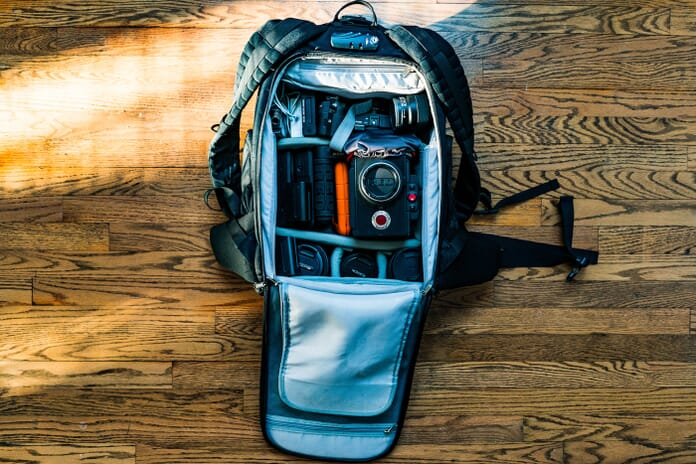 camera backpack with photography gear