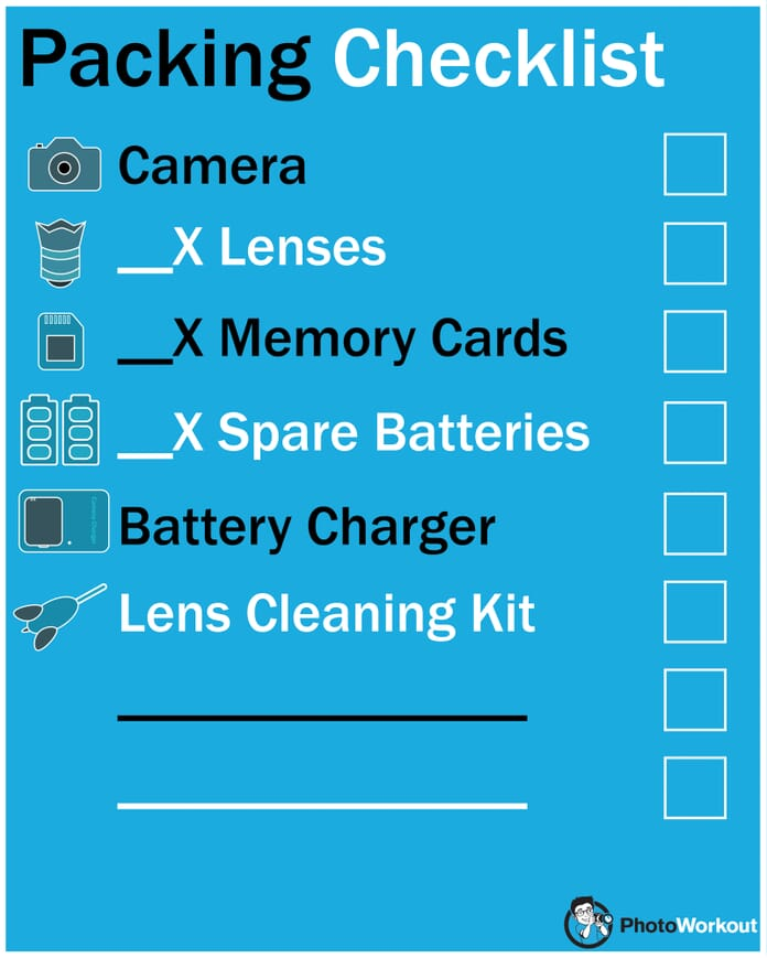 travel photography tips packing checklist