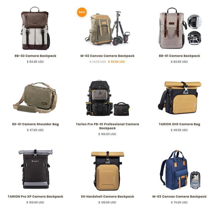 Tarion photo backpacks