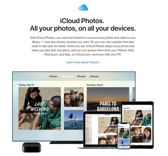 iCloud storage for photo organizing for mac