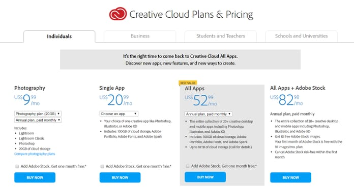 Creative Cloud plans