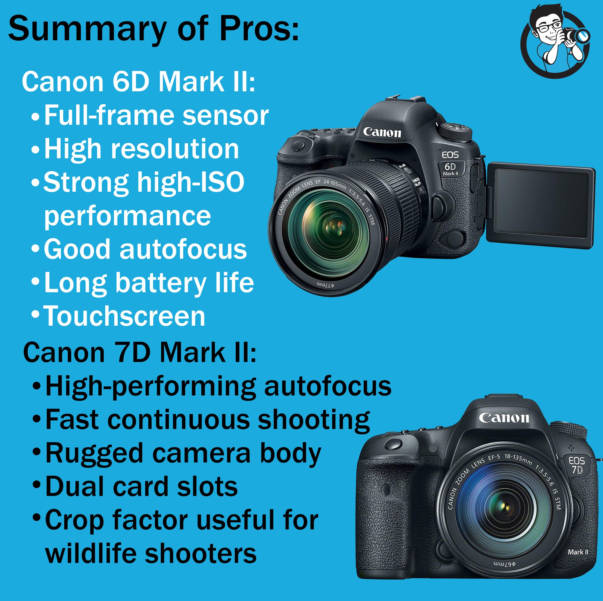 Pros summary Canon 6D vs 7D