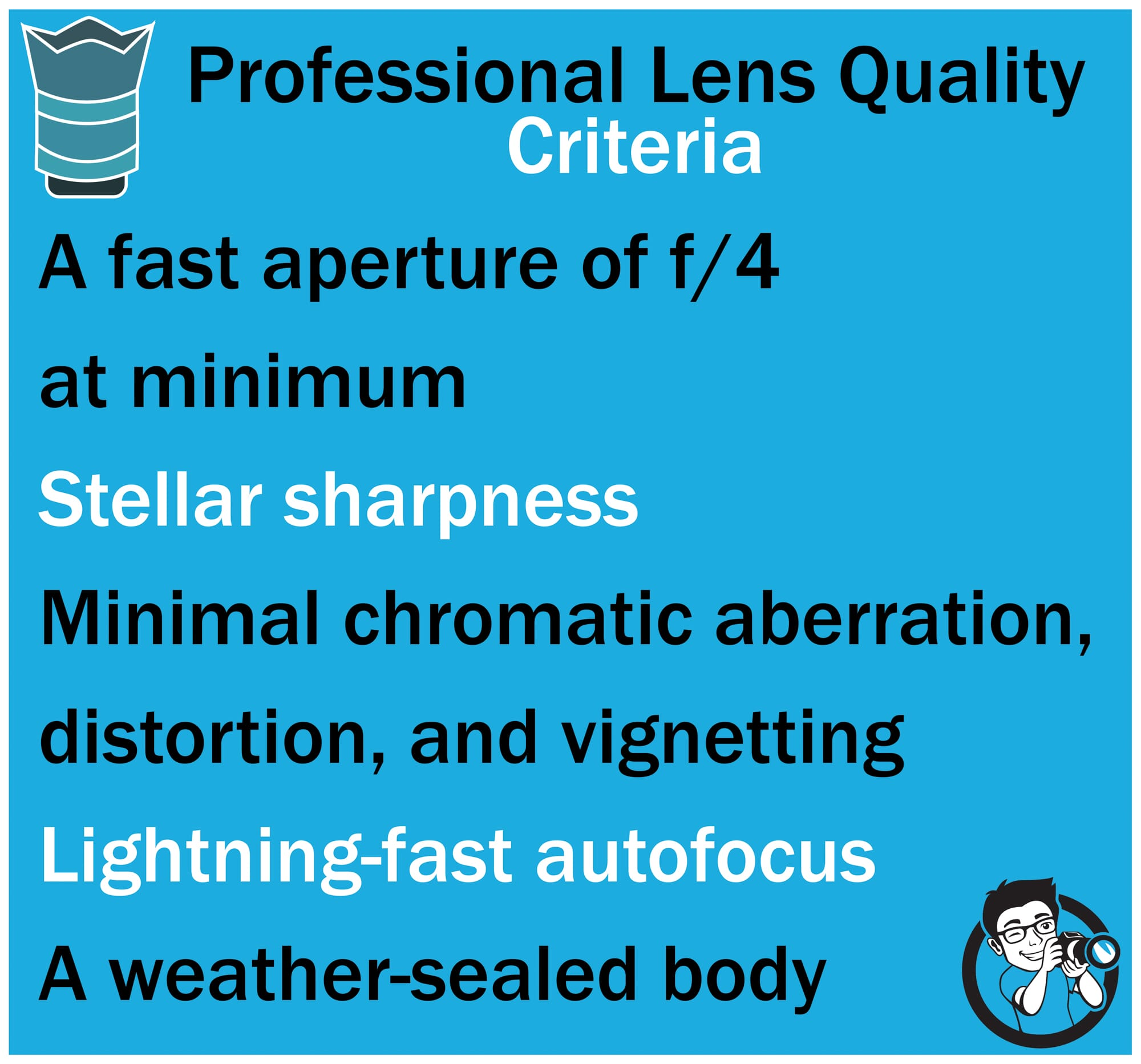 lens quality criteria professional photography equipment