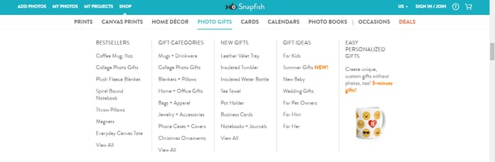 Snapfish Photo Prints options