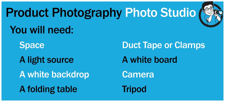 Equipment list for product photography DIY photo studio