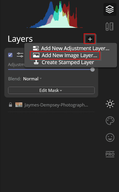 add new image layer in luminar