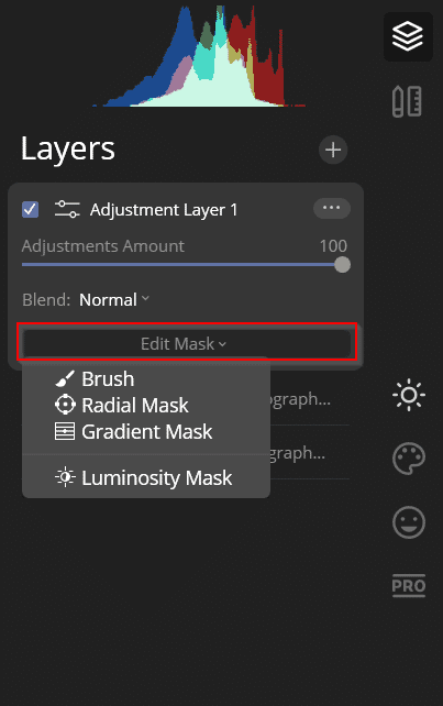 masking luminar layers